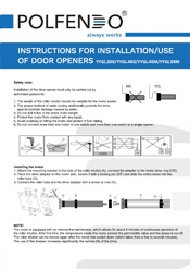 INSTRUCTIONS FOR INSTALLATION-USE OF DOOR OPENERS