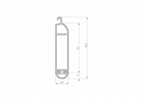 listwa dolna aluminiowa 52, 55 - przekrój