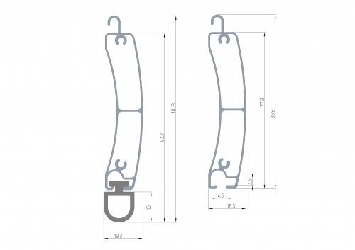 listwa górna i dolna aluminiowa 77 - przekrój