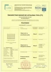 Certyfikat świadectwa badań do ustalenia typu INTENSE